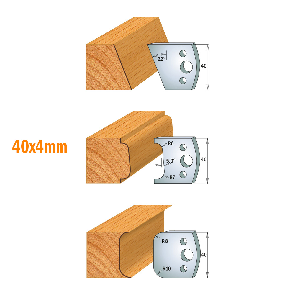 "Cutter heads for rabbeting and 40mm (1-37/64"") profile knives"