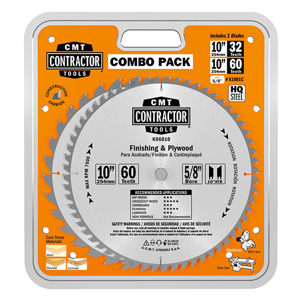 ITK Contractor general purpose & finishing circular saw blade combo pack