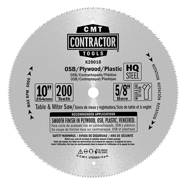 ITK Contractor fine finish saw blades