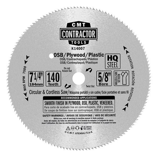 ITK Contractor plywood saw blades