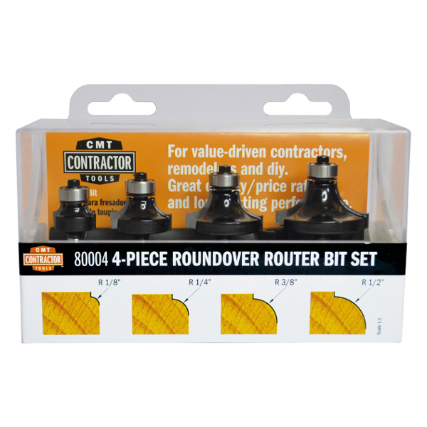"4 Piece Roundover set  1/4"" Shank"
