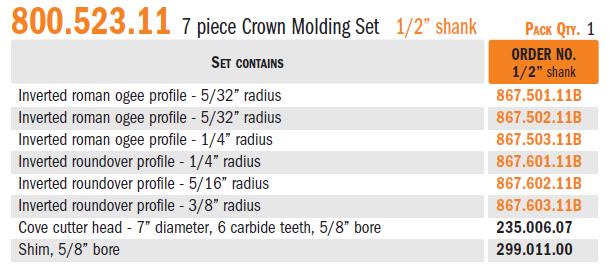 Crown molding set | CMT Orange Tools